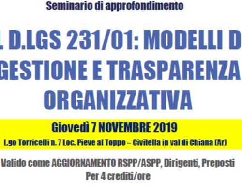 Seminario tematico IL D.LGS 231/01: MODELLI DI GESTIONE E TRASPARENZA ORGANIZZATIVA